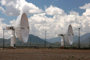 Two of the new Ka band dishes at White Sands