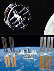 The space station from 2001 along with the real International Space Station - movie image courtesy A.M.P.A.S.