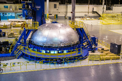The first SLS core stage forward liquid oxygen (LO2) tank dome recently was completed on the Circumferential Dome Weld Tool at Michoud.