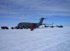 The IceBridge team arrived at McMurdo Station yesterday aboard a U.S. Air Force C-17 transport aircraft.