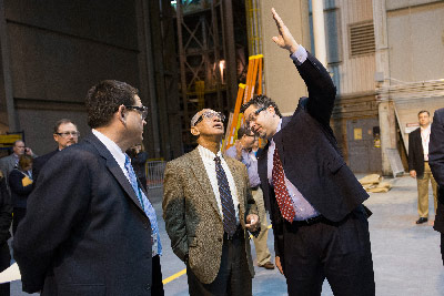 NASA Administrator Charles Bolden, center, talks about progress on the Space Launch System with SLS Program Manager Todd May, right, and Michoud Assembly Facility Director Roy Malone during a tour of Michoud in New Orleans on Monday.