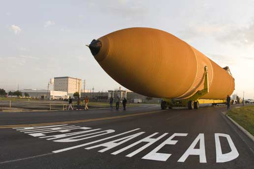 Space shuttle external tank ET-126 is readied for its sea journey to the Kennedy Space Center, Fla.