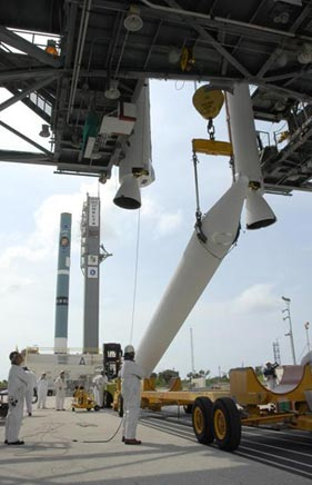 The Delta II rocket boosters are installed