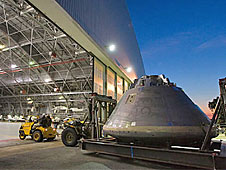 The Orion crew module mockup heads to a Langley hangar for verification testing prior to shipment to NASA Dryden.
