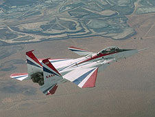 F-15B flying of Borax mine in Boron CA.