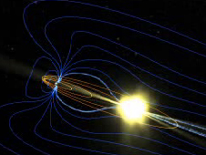 Artist concept of reconnecting magnetic field
