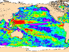 map of sea-level anomalies from July 4 to July 14, 2008