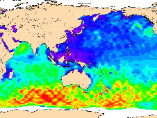 map of significant wave height from July 4 to July 14, 2008