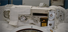 Top view of the Displays and Control Module that the spacewalker sees when looking down