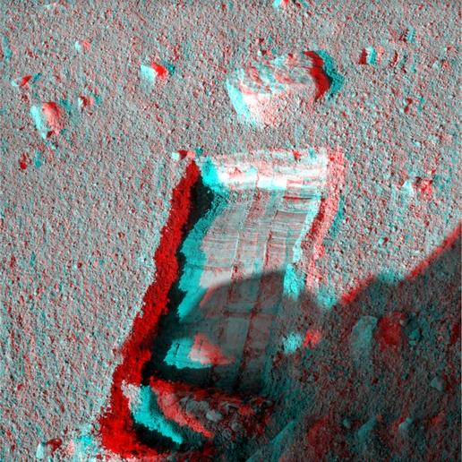 Preparation for Moving a Rock on Mars, Stereo View