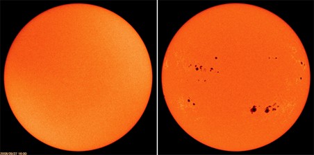 A photo of the sun taken Sept. 27, 2008 (left) and Sept. 27, 2001 (right).