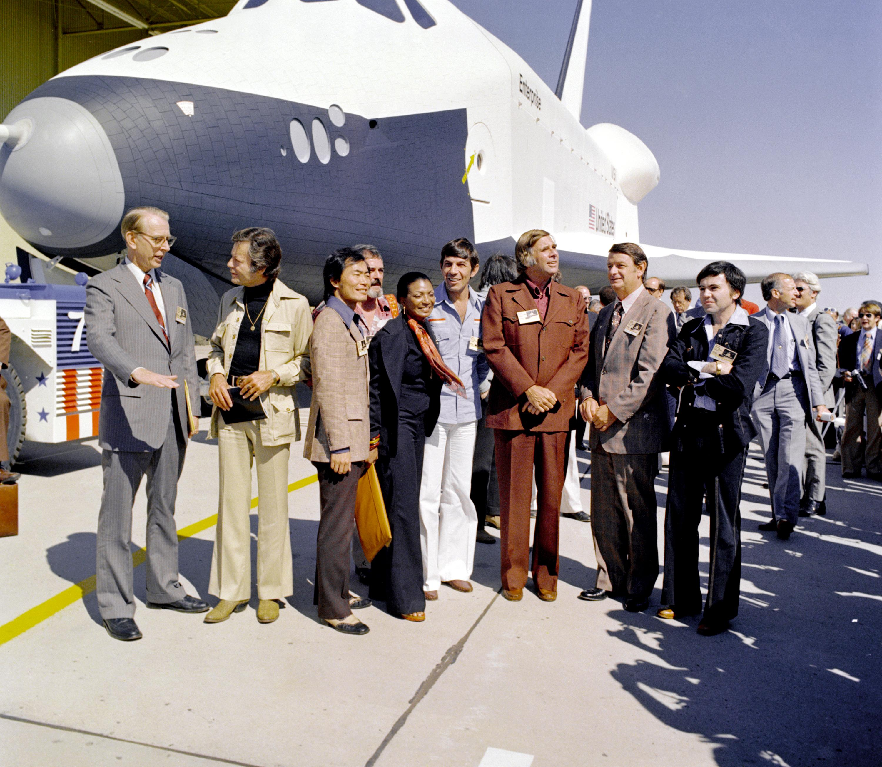 Leonard Nimoy, and the cast from Star Trek at the Space Shuttle Enterprise
