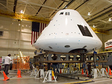 Orion crew module in Dryden's Flight Loads Lab
