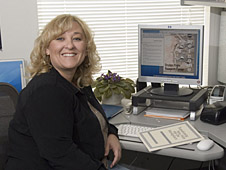 At her desk in building 4839, Lisa Mattox has a smile and a welcoming word for all new employees at Dryden.