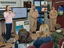 From left, Jennifer Cole, Aeronautics and Propulsion branch chief in the Dryden Aeronautics Mission Directorate, pilot Jim Smolka and operations engineer Leslie Molzahn answer student questions about flight.