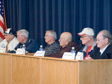 From left, Lloyd Kaplan, Bill Bright, Dwennon Healy, Daniel Leeder, Donald Margheim and Edmon Beshears discuss the similarities and differences between the Apollo and Orion programs.