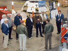 A group of men who worked on the Apollo Program visited Dryden Feb. 12.