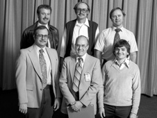 Dryden Center Director Kevin L. Petersen is pictured in the front row at right. The front row also includes, from left, Kenneth Szalai and Bob Kempel. In the back row are, from left, Bob Noscoe, Larry Schilling and Dick Larson.