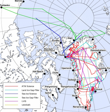 map of Greenland flight paths