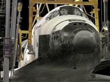 Space Shuttle Atlantis in mate-demate device after STS-36 mission.