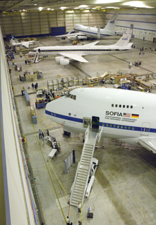 The DAOF hangar houses the SOFIA, DC-8 and the ER-2 and NASA 747 Shuttle Carrier Aircraft.