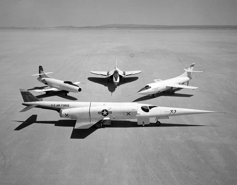 group photo of douglas aircraft company airplanes nasa