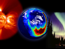 An artists composite showing a storm from the Sun, aurora as seen from space, and aurora as seen from the Earth.
