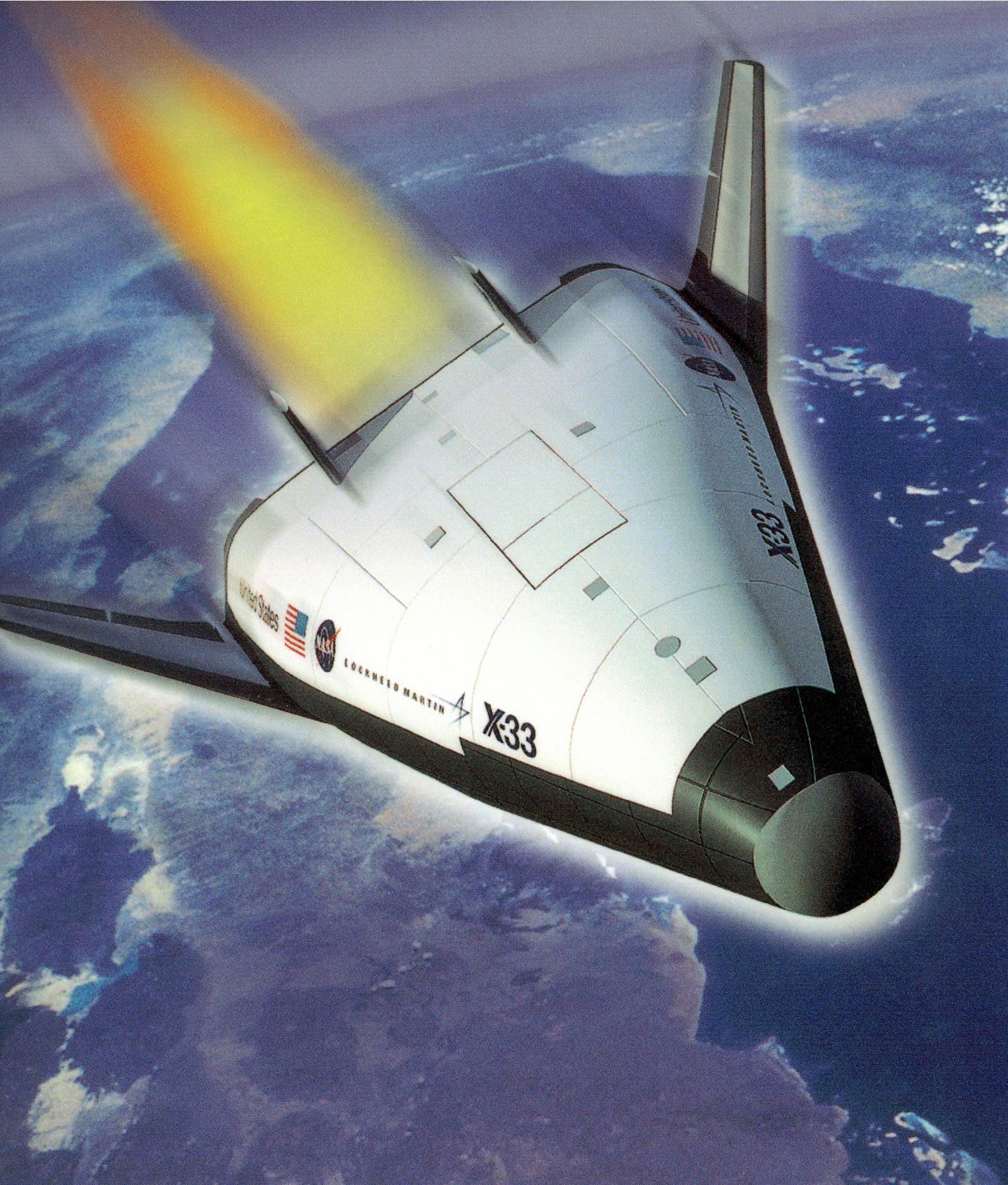 artist s conception of x 33 in flight with aerospike engine firing