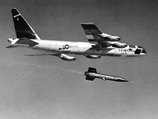 X-15 rocket planes drops away from its B-52 launch aircraft