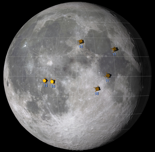 graphic depicting locations of Apollo landings