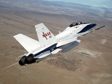 Dryden's F/A-18 in flight.