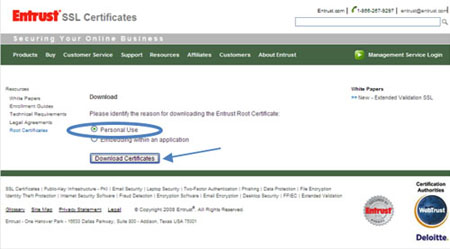 An image of the Entrust SSL Certificates web page with a circle around the Personal Use radio button and an arrow pointing to teh Download Certificates button.