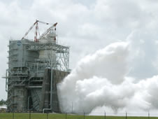 Steam billows from the A-2 Test Stand at NASA's John C. Stennis Space Center during a July 29 space shuttle main engine test.