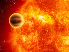 Exoplanet orbiting close to its sun.