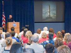 Former astronaut and Dryden pilot Gordon Fullerton returned July 23 to speak about the legacy of the Apollo 11 moon landing.
