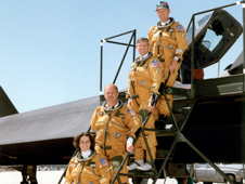 The last flight crews to fly the storied SR-71 were from Dryden. From bottom to top are Marta Bohn-Meyer, Bob Meyer, Ed Schneider and Rogers Smith.