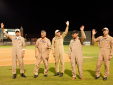 Aircrews who flew overhead before the game and the evening's honorees, who were members of the last SR-71 aircrews, received a warm reception from the Aug. 15 JetHawks crowd.
