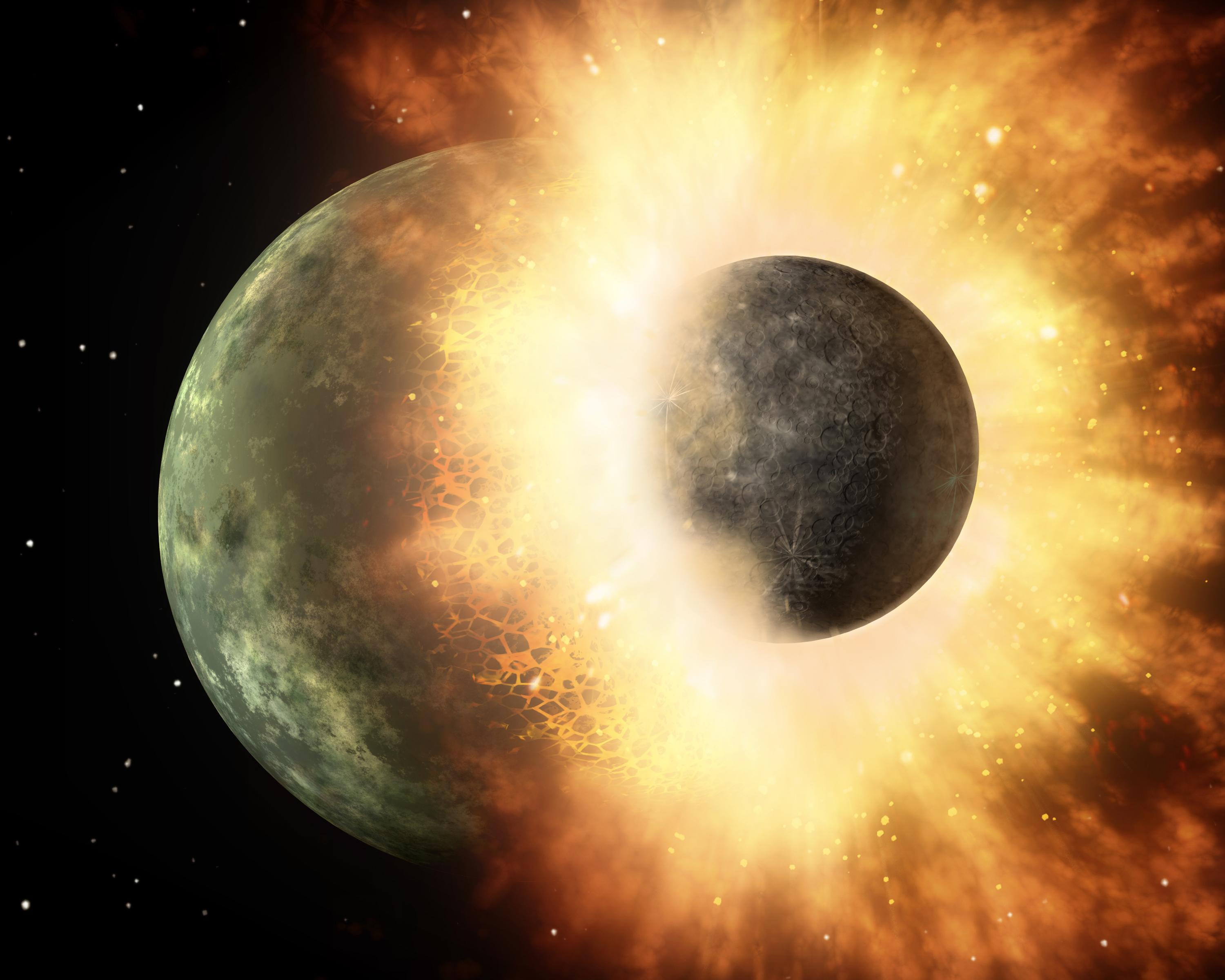 This artist's concept shows a celestial body about the size of our moon slamming at great speed into... [+] a body the size of Mercury. NASA's Spitzer Space Telescope found evidence that a high-speed collision of this sort occurred a few thousand years ago around a young star, called HD 172555, still in the early stages of planet formation. The star is about 100 light-years from Earth. Image Credit: NASA/JPL-Caltech