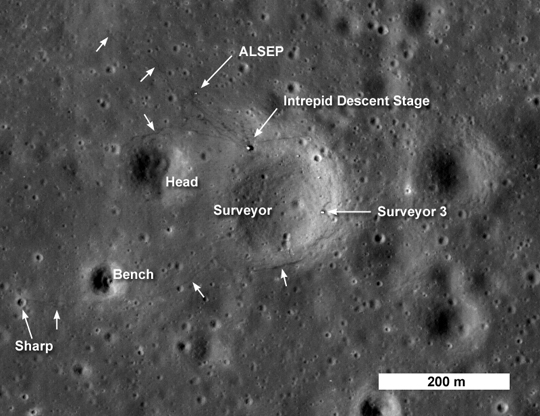 LRO image of Apollo 12 LM descent stage and Surveyor 3