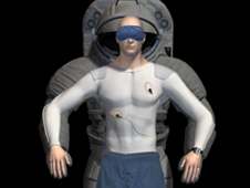 Graphic of an astronaut superimposed on an EVA suit