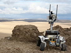 The K10 Red planetary rover near the Haughton-Mars Project Base Camp