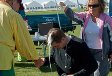 NASA Dryden photographer Tom Tschida gets doused with champagne after his first-ever hot-air balloon flight.