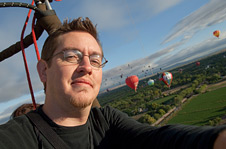 NASA Dryden photographer Tom Tschida during his first-ever hot-air balloon ride.