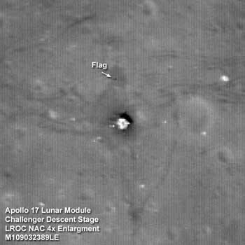 Apollo 17 Lunar Module Challenger descent stage comes into focus from the new lower 50 km mapping orbit.