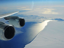NASA's DC-8 flying laboratory makes a turn over Pine Island Bay in the Amundsen Sea