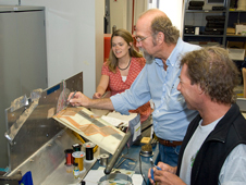 Gary Williams, center, works on the ATW2 test structure that will take elements of the DASP toolbox into the flight research environment. Also pictured are Christine Jutte and Marty Brenner.
