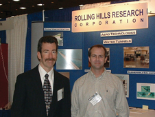 Rolling Hills Research Corp. President Brian Kramer, left, and Michael Kerho, the company's chief aerodynamicist, are pictured at an American Institute of Aeronautics and Astronautics event promoting the company's water tunnels and research capabilities.