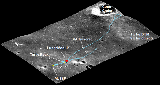 map of Apollo 14 landing site using 3D measurements from LRO