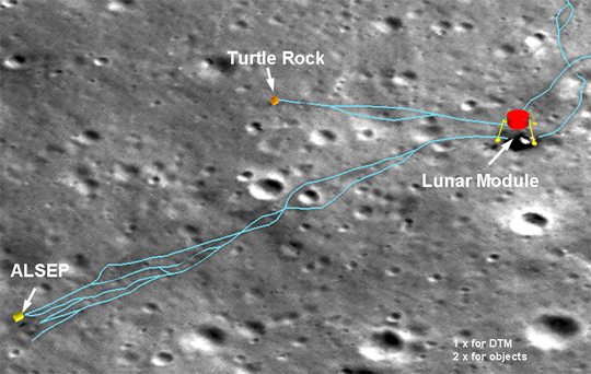 Close-up map of Apollo 14 landing site using 3D measurements from LRO