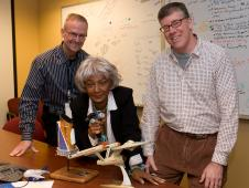 Nichelle Nichols, who played Lieutenant Uhura on the famous TV show Star Trek visited NASA Ames Resarch Center. In this photo she is posing with Roger Hunter, Kepler project manager and Doug Caldwell, Kepler science team member.